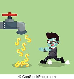 zombi, homme affaires, robinet, argent
