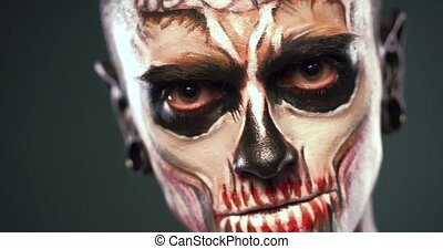 zombi, homme, makeup., figure