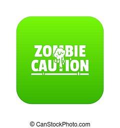 zombi, horreur, vert, icône