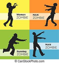 zombi, images, silhouette, vue côté