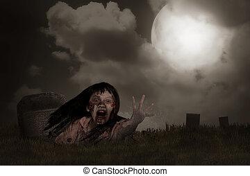 zombi, levée, depuis, cimetière