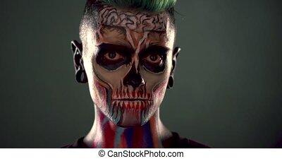 zombi, métrage, coloré, makeup., homme