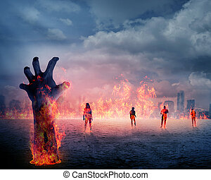 zombi, main, à, brûler, levée, depuis, les, terrestre