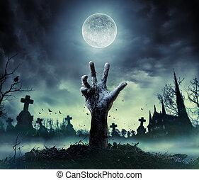 zombi, main, levée, dehors, de, a, cimetière