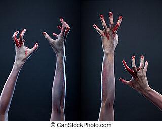 zombi, mains, ensemble, sanglant