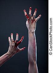 zombi, mains, sanglant
