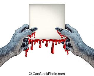 zombi, mains, signe
