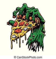 zombi, mano, pizza