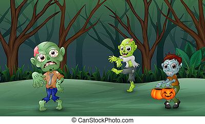 zombi, marche, forêt, dessin animé