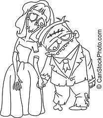 zombi, mariage, esquissé
