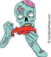 zombi, morceau, manger, viande