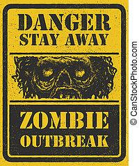 zombi, outbreak., mano, drawn., vector, eps8