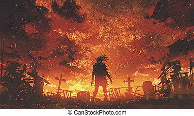 zombi, quemado, ambulante, cementerio