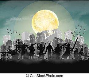 zombi, slayer, equipo, con, arruinado, apocalipsis, ciudad