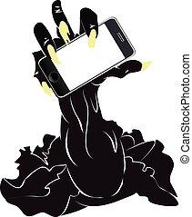 zombi, téléphone, main