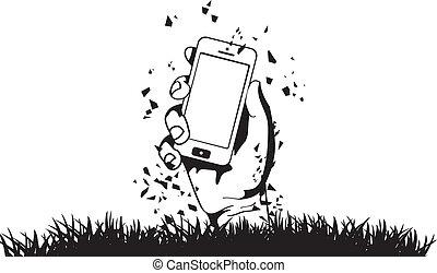 zombi, téléphone, vecteur, tenant main