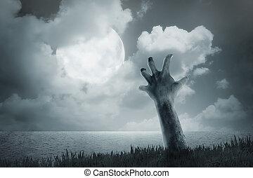 zombi, terrestre, dehors, venir, main
