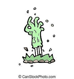 zombi, terrestre, levée, dessin animé, main