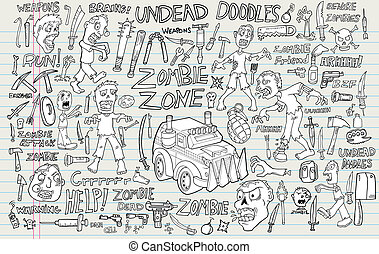 zombi, undead, vecteur, ensemble, griffonnage