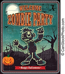 zombi, vendimia, des, halloween, cartel