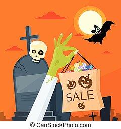 zombi, verde, mano, asimiento, bolso de compras, con, gusto, cementerio