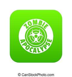 zombi, vert, infection, icône