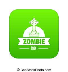 zombi, vert sombre, icône