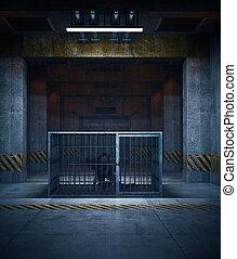 zombie, übertragung, käfig