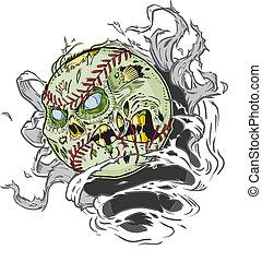 zombie, świetny, poza, baseball