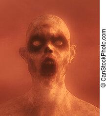 zombie, abbildung, unheimlicher , undead