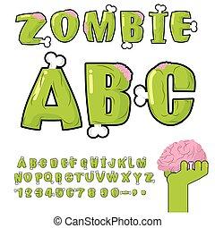 Zombie ABC. Bones and brains. horror monstr font. Living...