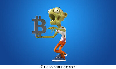 Zombie and bitcoin - 3D Animation