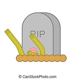 Zombie and grave. Gravestone and dead man. Halloween illustration