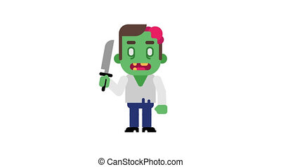 Zombie angry stomping and clenching teeth. Halloween...