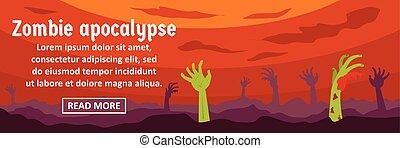 Zombie apocalypse banner horizontal concept