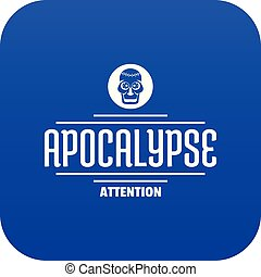 Zombie apocalypse icon blue vector