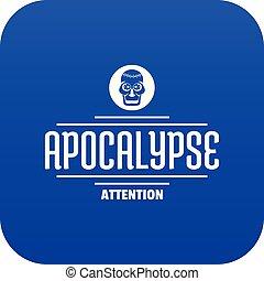 Zombie apocalypse icon blue vector