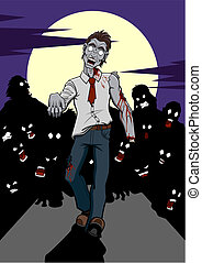 Illustration of a zombie invasion. In the foreground there is a zombie who walks and behind him there is a crowd of others zombies in silhouette. It's night and there is a big full moon on the background.