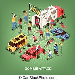 Zombie Apocalypse Isometric Background