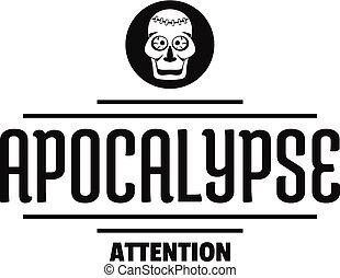 Zombie apocalypse logo, simple black style