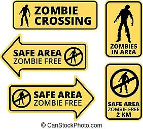 Zombie Apocalypse Safe area Signs, Symbols and Billboards...