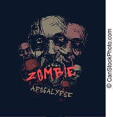 Zombie apocalypse. Zombie head.