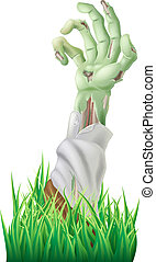 Illustration of a scary decaying zombie arm reaching out of the ground