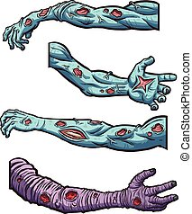 Cartoon zombie arms. Vector clip art illustration with simple gradients. Each on a separate layer.