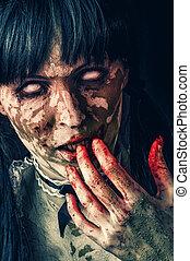 zombie, assustador, mulher
