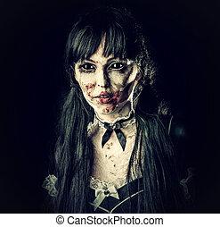 zombie, assustador, olhos, mulher, pretas
