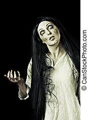 zombie, assustador, sangrento, retrato, gory