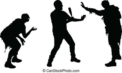 A silhouette of a man defending himself from two attacking zombies.