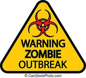 zombie, ausbruch, warnung