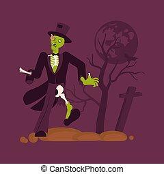 zombie, bakgrund., begrepp, kyrkogård, man